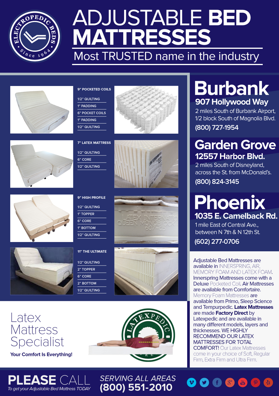 100% pure Talalay Latex Foam Natural Organic Mattress Phoenix AZ Electric Adjustable Bed Mattresses